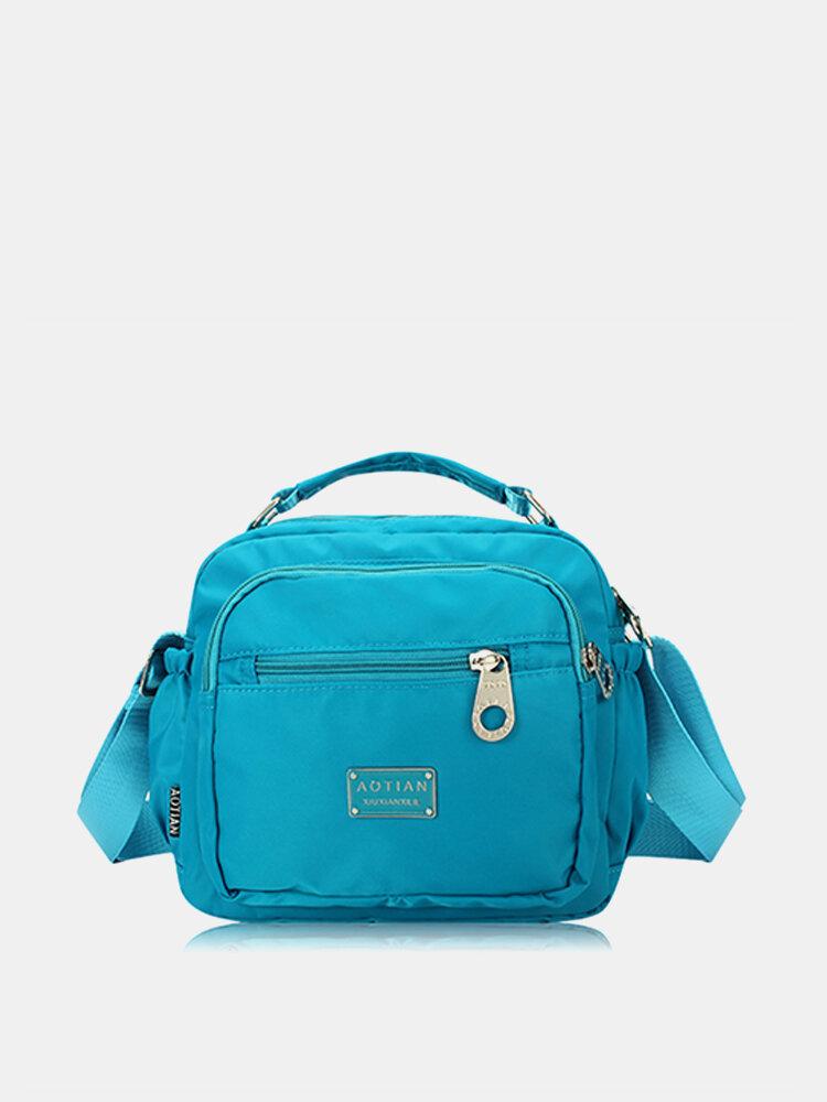 Women Waterproof Crossbody Bag Nylon Multi-zipper Sling Bag Handbag