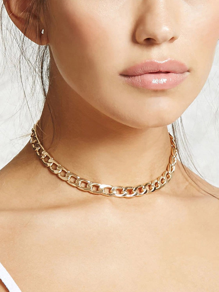 Simple Adjustable Thick Chain Women Necklace