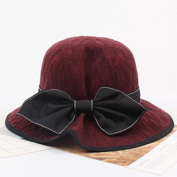 Women's Cotton Foldable Big Bow Bucket Cap Vogue Sunshade Vacation Seaside Fisherman Hats