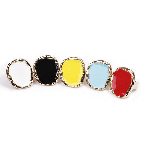 Women's Trendy Irregular Candy Colorful Punk Exaggerated Ring Sweater Accessories