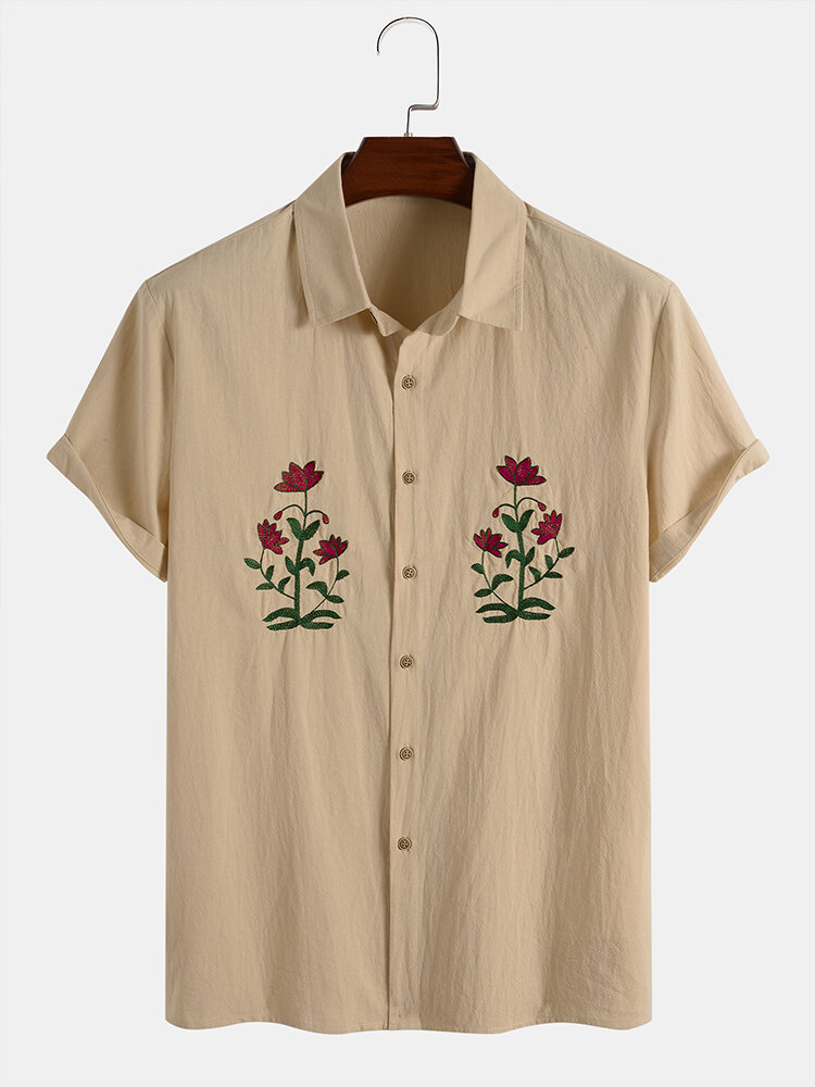 Designer Mens 100% Cotton Breathable Flower Embroidery Button Up Casual Shirts