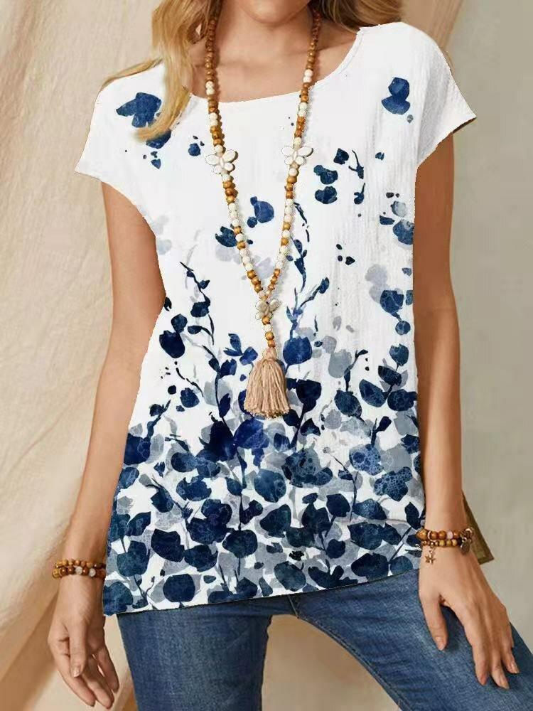Floral Print O-neck Short Sleeve Vintage T-Shirt For Women