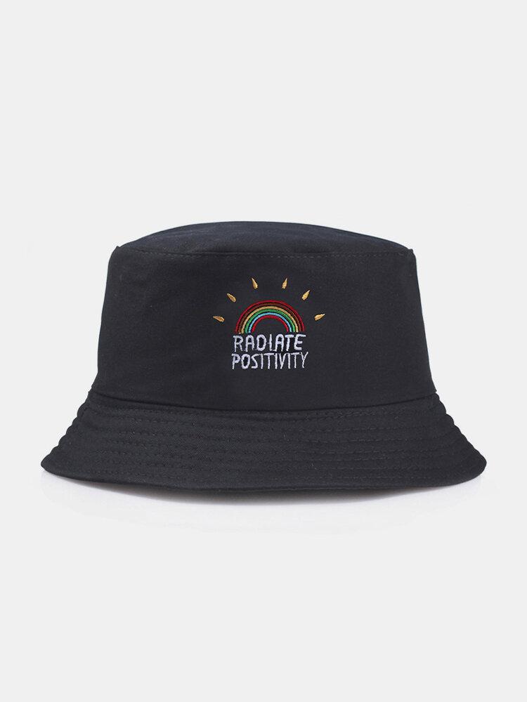 Women & Men Rainbow Embroidery Pattern Casual Outdoor Visor Bucket Hat