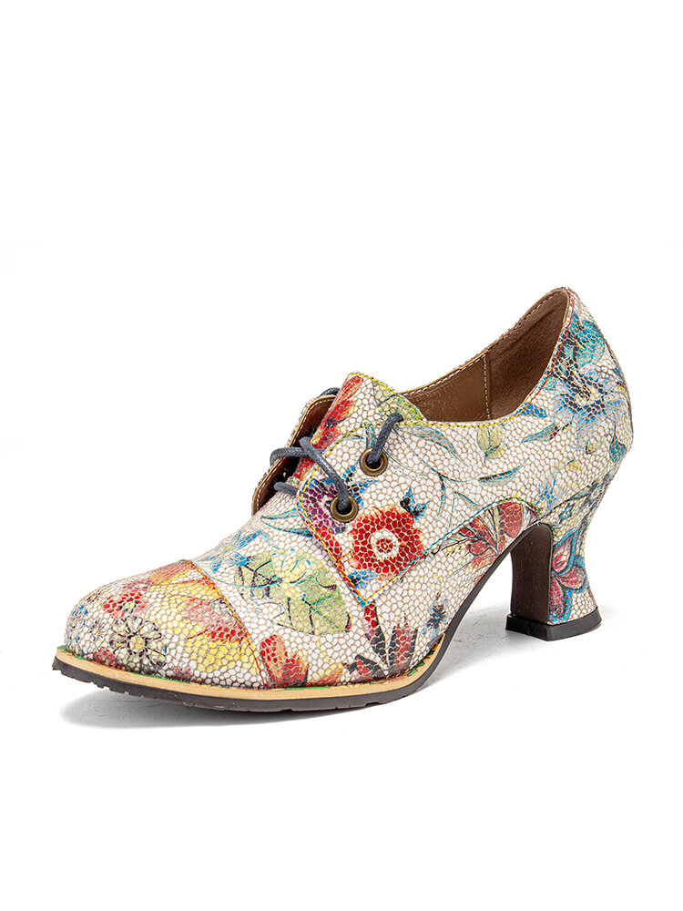 SOCOFY Fresh Natural Flowers Leaves Printed Comfy Wearable Chunky Heel Women Casual Lace Up Pumps