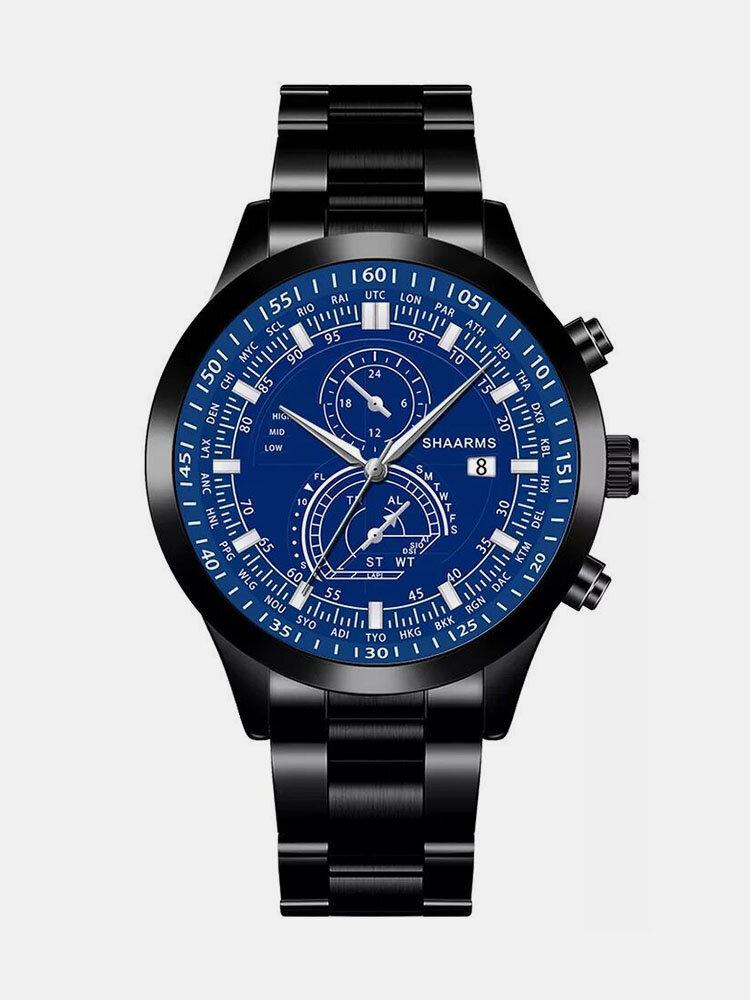 سبيكة غير القابل للصدأ أعمال فولاذية حزام كوارتز Watch تقويم ثنائي العين Watch