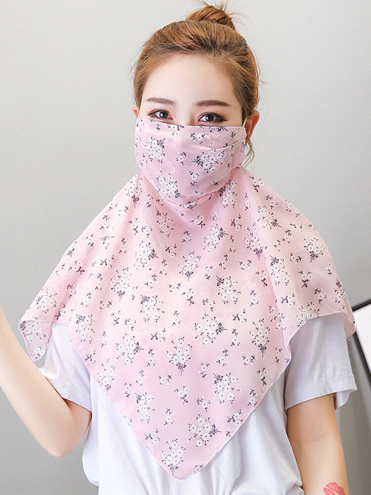 Small Floral Breathable Printing Masks Neck Protection Sunscreen Ear-mounted Scarf