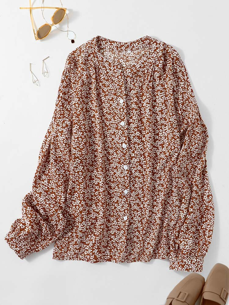 Floral Print V-neck Long Sleeve Button Blouse for Women
