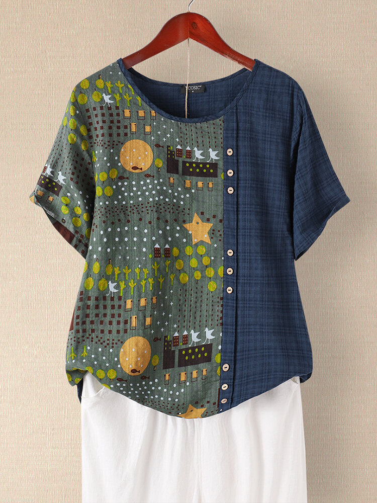 Plaid Patchwork Printed Button O-neck Short Sleeve T-shirt