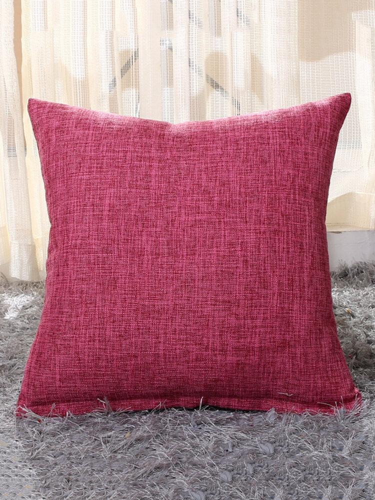 Housse de coussin en lin coton souple en couleur pure décoration pour maison voiture