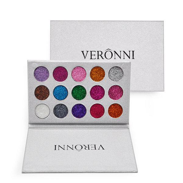 فيروني 15 ألوان بريق عينيه الماس رينبو المكياج التجميل الضغط التألق العين ش