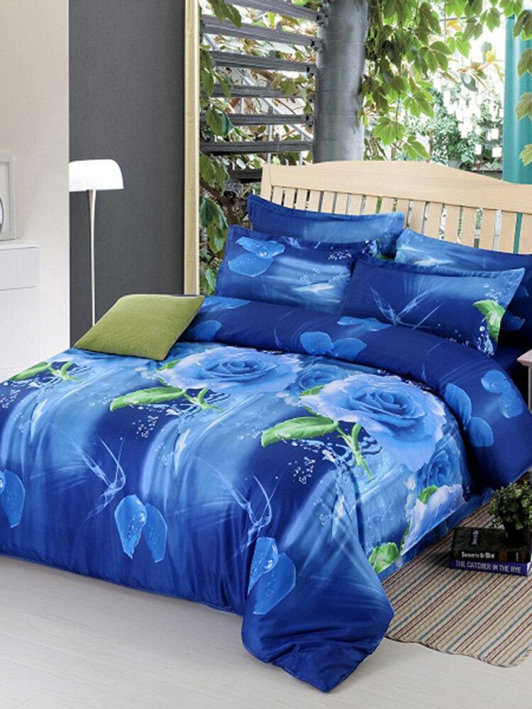 4pcs Suit Polyester Fiber 3D Blue Rose Flower Reactive Dyeing Bedding Sets Queen Size