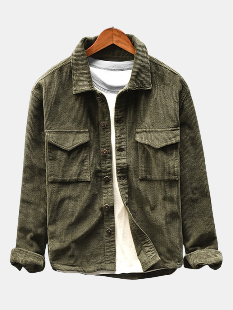 5d205f93da ChArmkpR Casual Vintage Turn Down Collar Corduroy Shirt Long Sleeve Button  Down Jacket for Mensales-NewChic