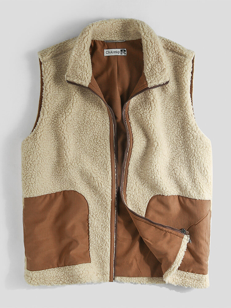 Mens Contrast Zip Front Plush Sleevless Gilet Teddy Vests With Pocket