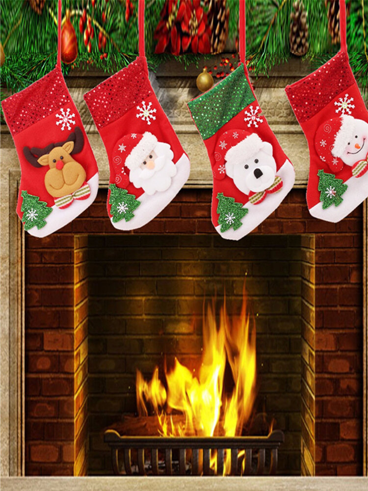 New Year Vintage Christmas Stocking Snowman Bag Gift Sock Ornament Socks For Christmas Tree