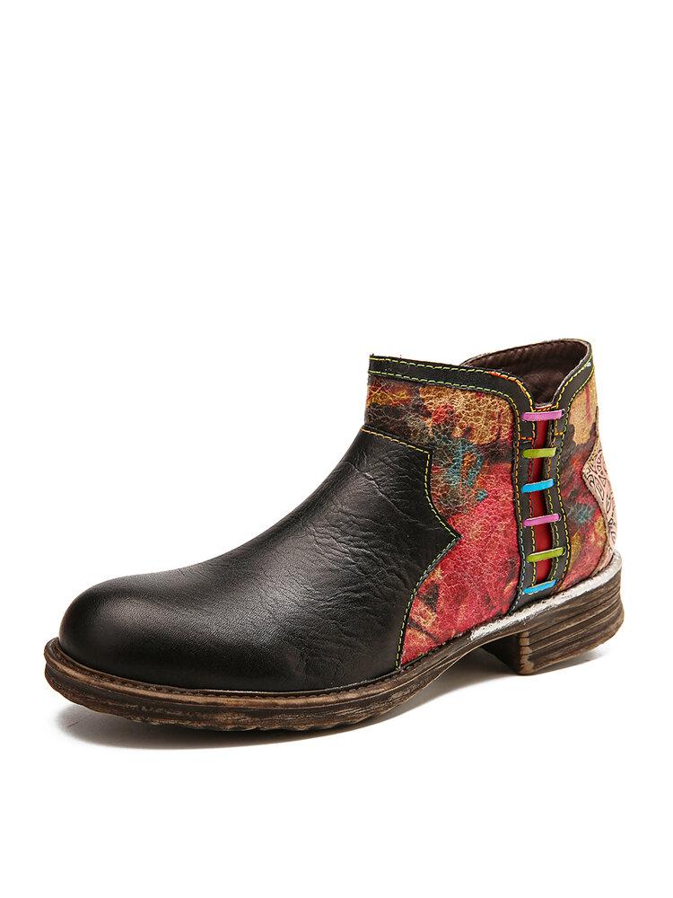 SOCOFY Retro Watercolor Texture Splicing Genuine Leather Zipper Low Heel Boots