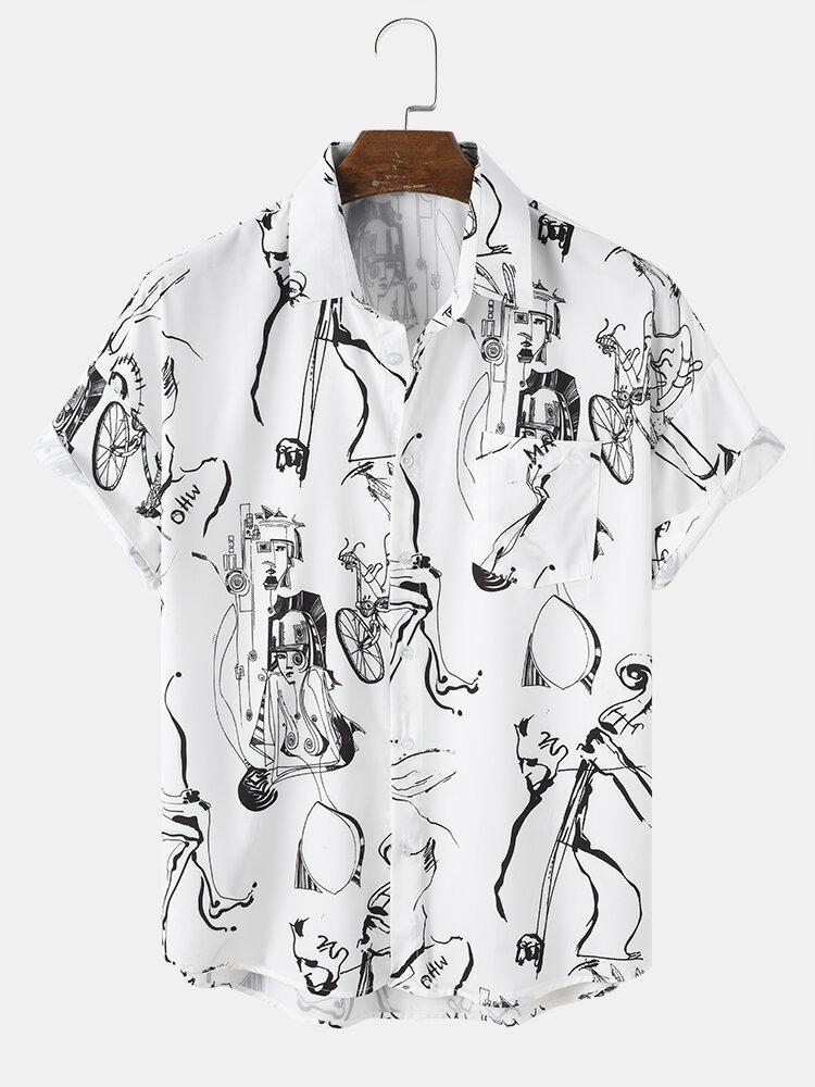 Mens Abstract Line Drawing Monochrome Print Street Short Sleeve Shirts