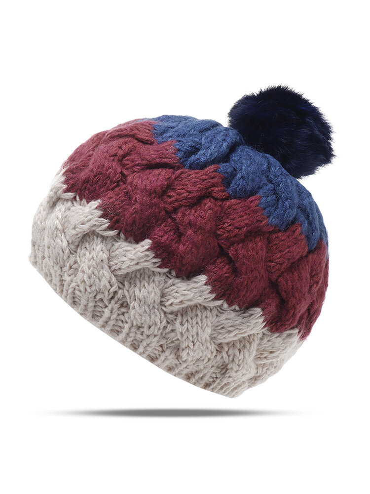 Women Winter Warm Stitching Beanie Hat With Fur Pompom Windproof Ear Warm Knitted Hat