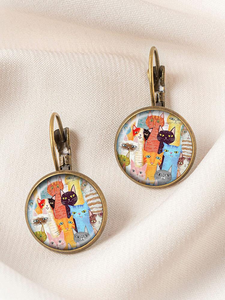 Bronze Glass Round Mixed-Color Cat Print Women Pendant Earrings