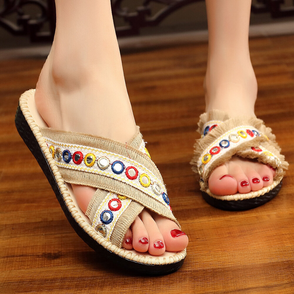 Folkways Circle Sequined Handmade Embroidered Peep Toe Slippers