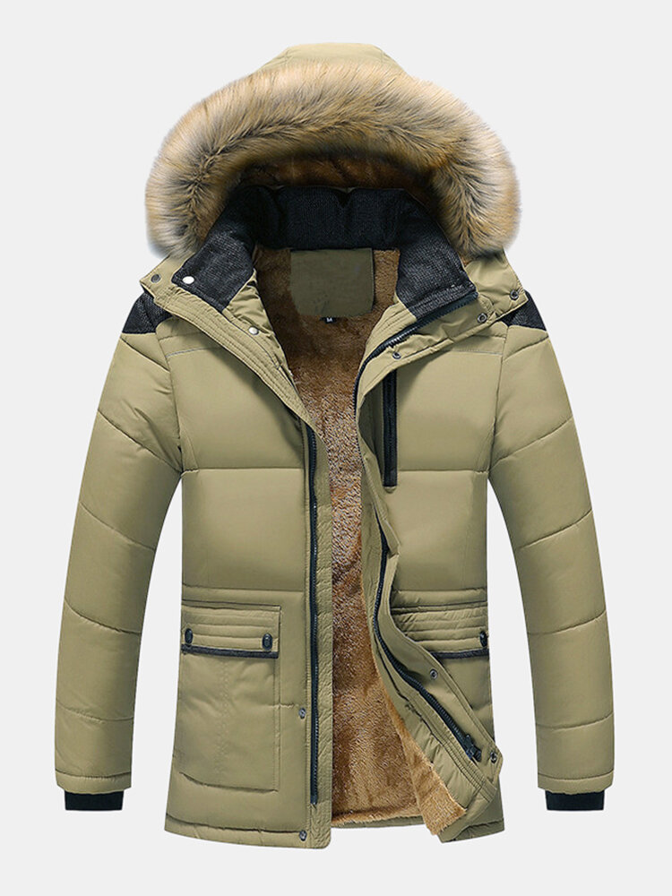 Mens Plush Lined Warm Detachable Faux Fur Collar Hooded Overcoats