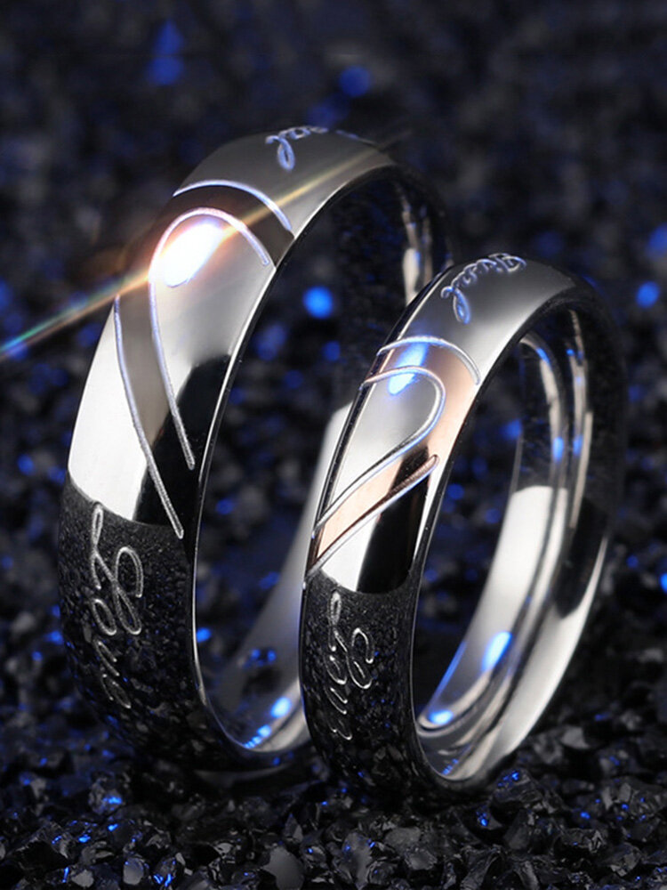 Simple Titanium Steel Couple Ring Heart Puzzle Ring Valentine's Day Gift