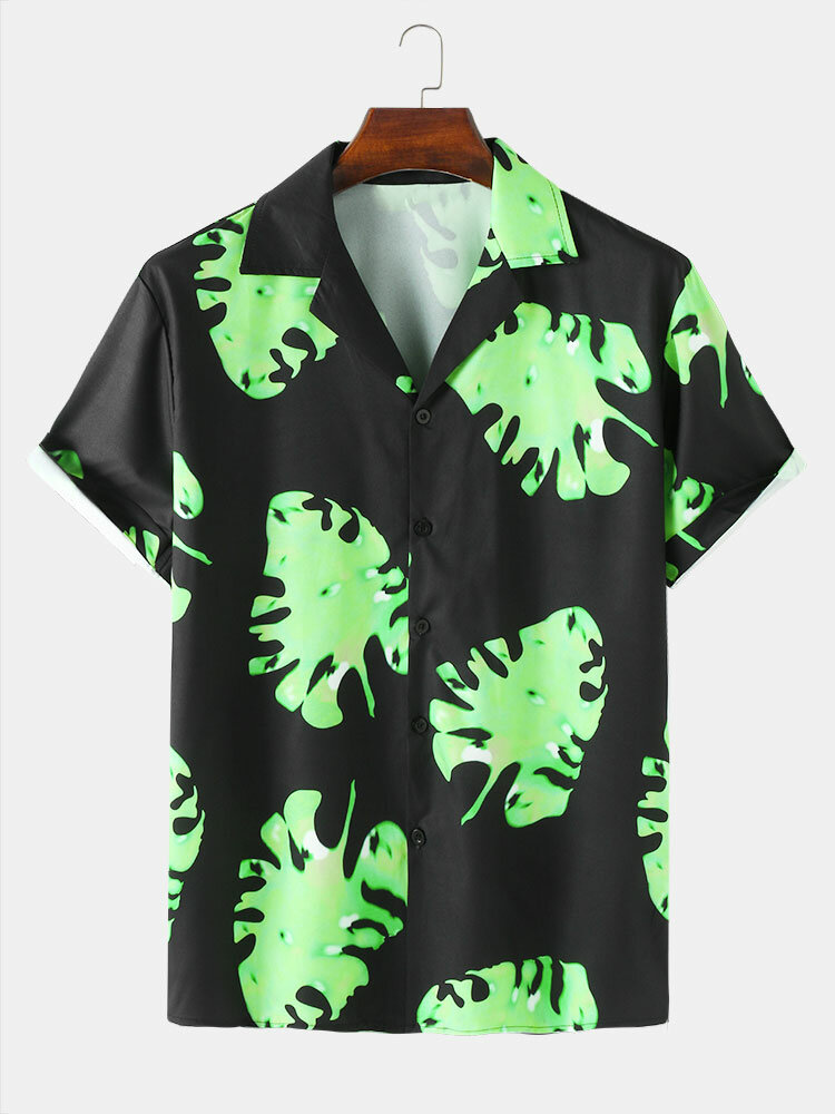 Mens Leaf Pattern Black Short Sleeve Camp Collar Shirt