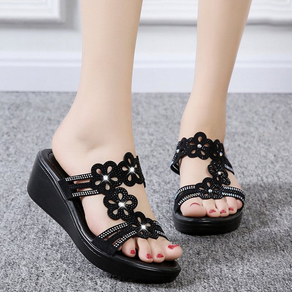 Women Casual Hollow Rhinestone Flowers Peep Toe Wedges Sandals