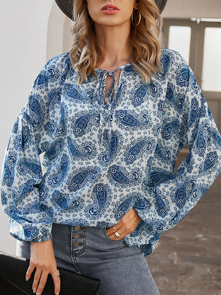 Bohemia Floral Ethnic Print Knotted Long Sleeve Vintage Casual Blouse