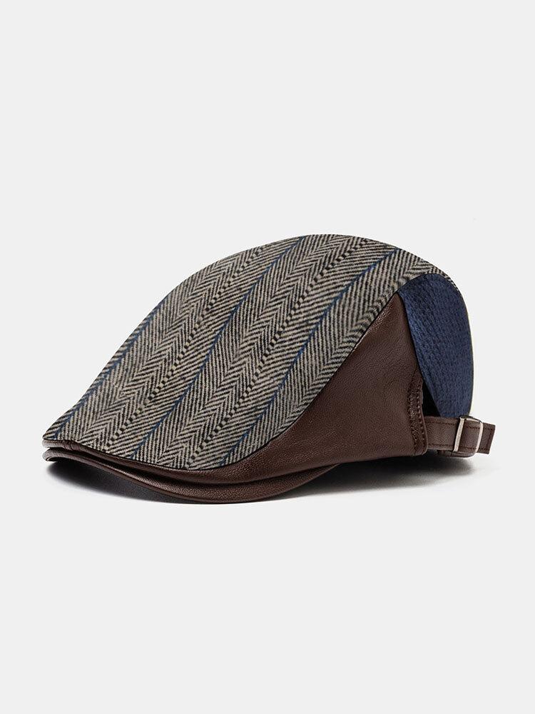 Men Knit Leather Contrast Color Adjustable Stripe Pattern Casual Outdoor Beret Hat