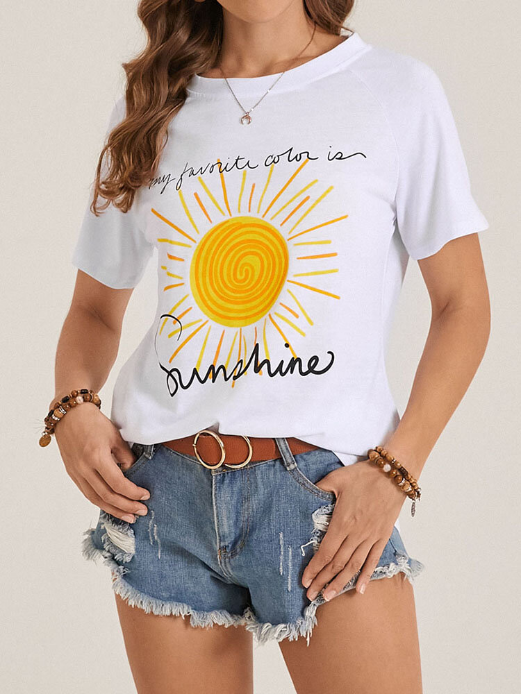 Sunshine Letters Print O-neck Short Sleeve Casual Women T-Shirt