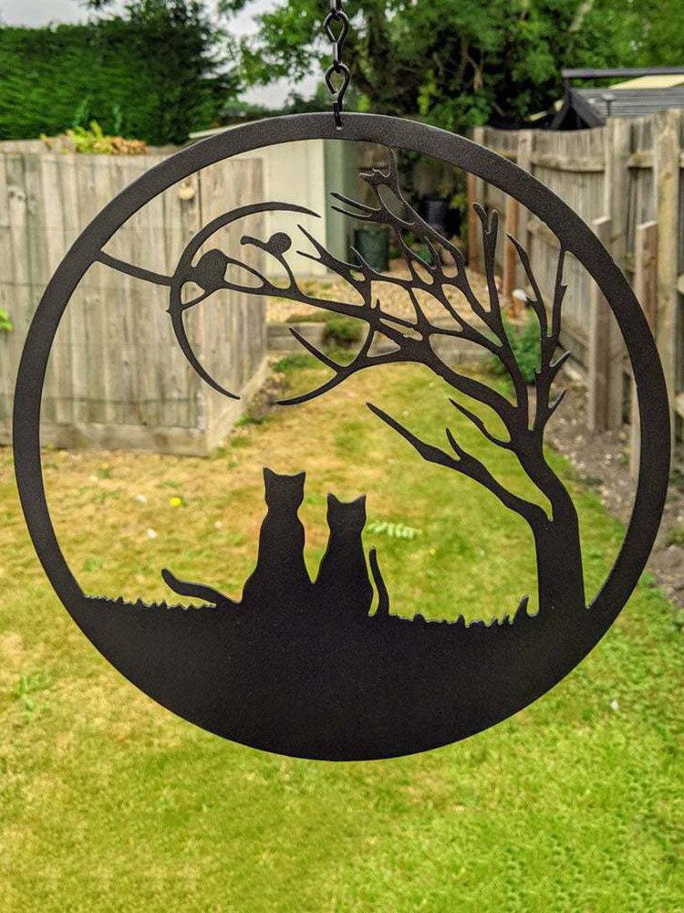 1 PC Hanging Metal Pendant Lonely Fox Cat Shape Craft Chain Window Ornament Home Garden Decoration