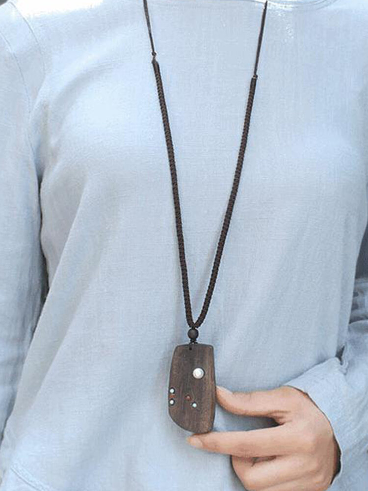 Ethnic Handmade Wooden Geometric Pendant Necklace Retro Long Sweater Chain Necklace