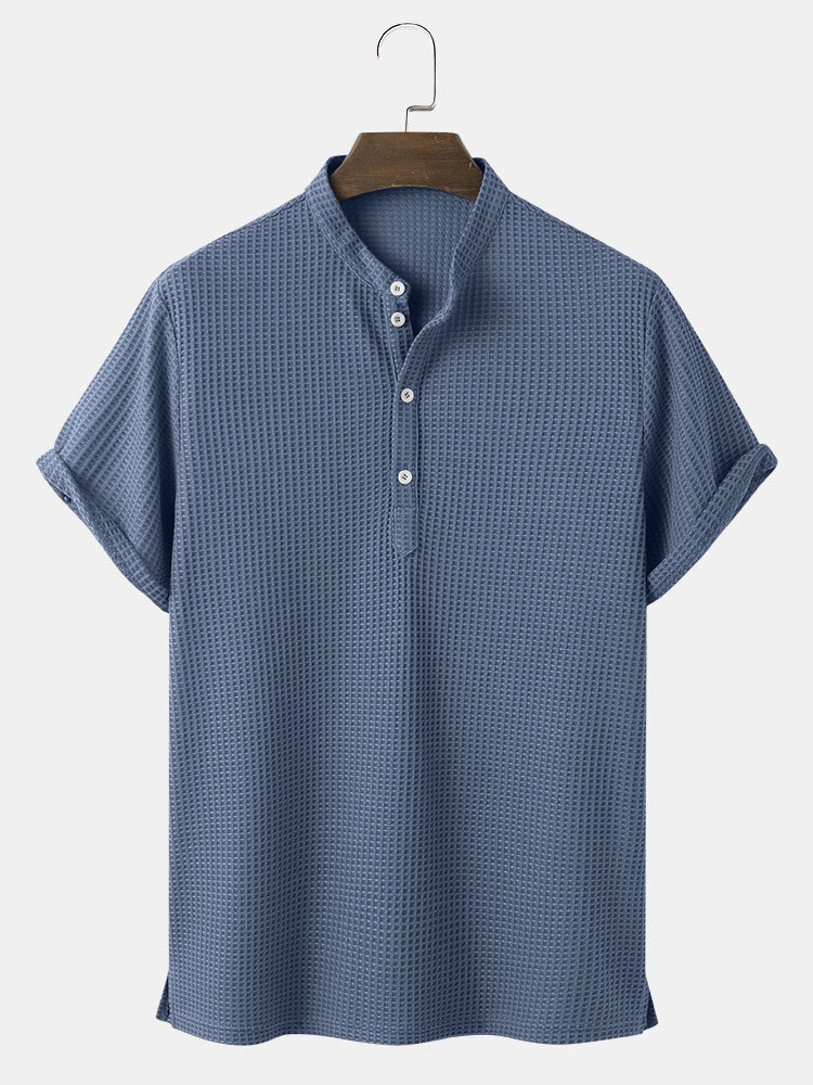 Mens Knitted Texture Solid Color Short Sleeve Henley Shirt