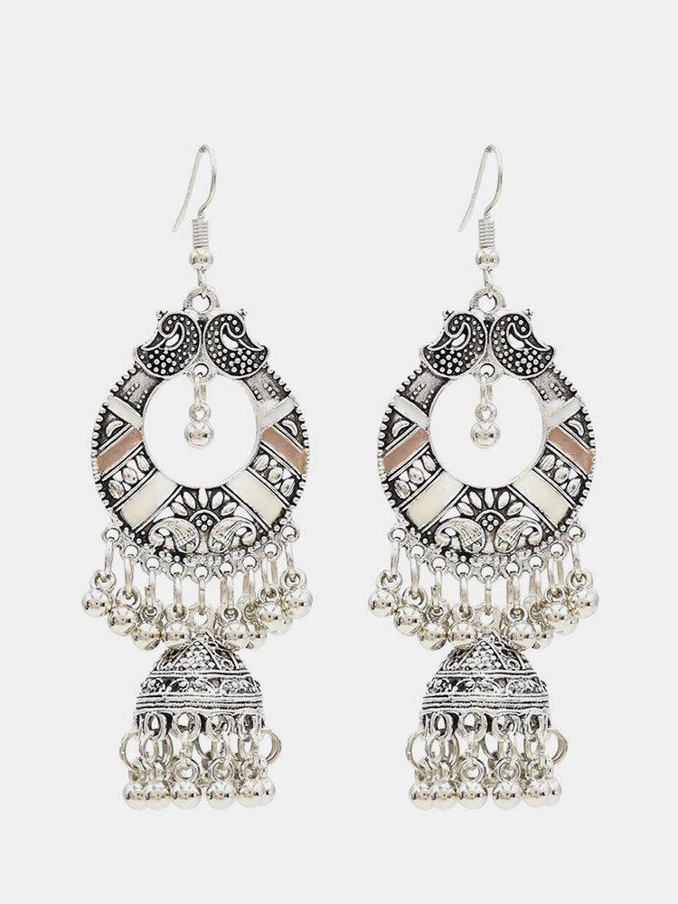 Bohemian Tassel Earrings Hallow Bell Drop Earrings Retro Sliver Earrings For Women