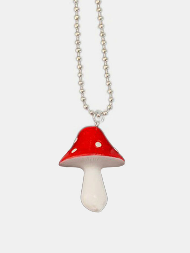 Cartoon Color Mushroom Necklace Personality Cute Resin Pendant Charm Jewelry Gift