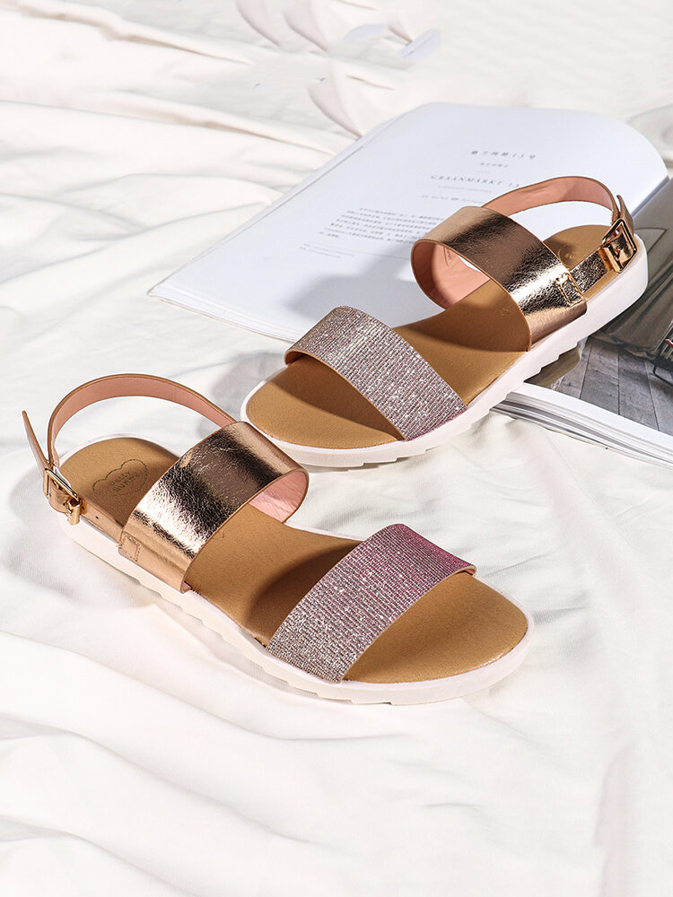 Women Two Tone Double Band Comfy Wearable Beach Casual Slip On Sandals