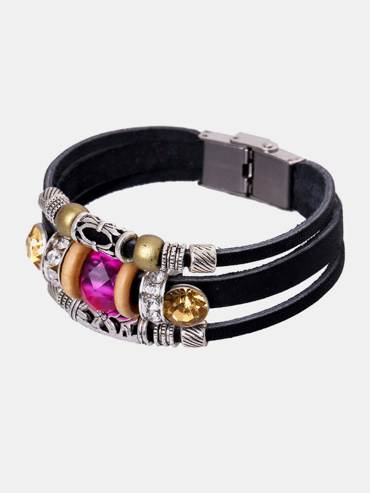 Retro Genuine Leather Bracelet Rose Bead Charm Bangle for Women Gift