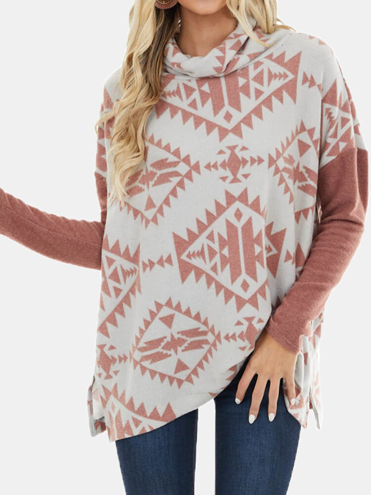 Print Patchwork High Neck Long Sleeve Plus Size Blouse for Women