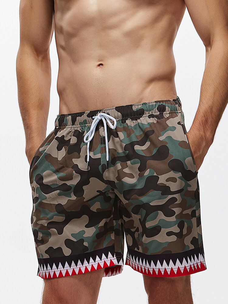 Colorblock Patchwork Pocket Surfing Quick Dry Beach Camouflage Board Shorts