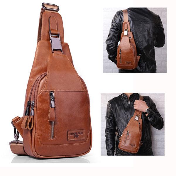 Ekphero Men Genuine Leather Shoulder Bag Vintage Chest Bags Crossbody Bags