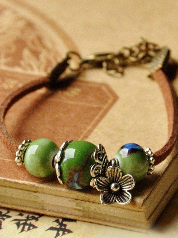Ethnic Hand-woven Ceramic Beads Bracelet Geometric Metal Flower Ceramic Beads Pendant Bracelet