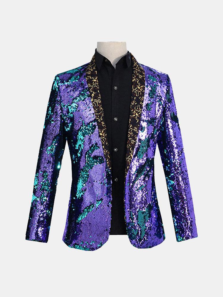 Mens réversible double couleur paillettes robe costume scène mariage col floral blazer décontracté