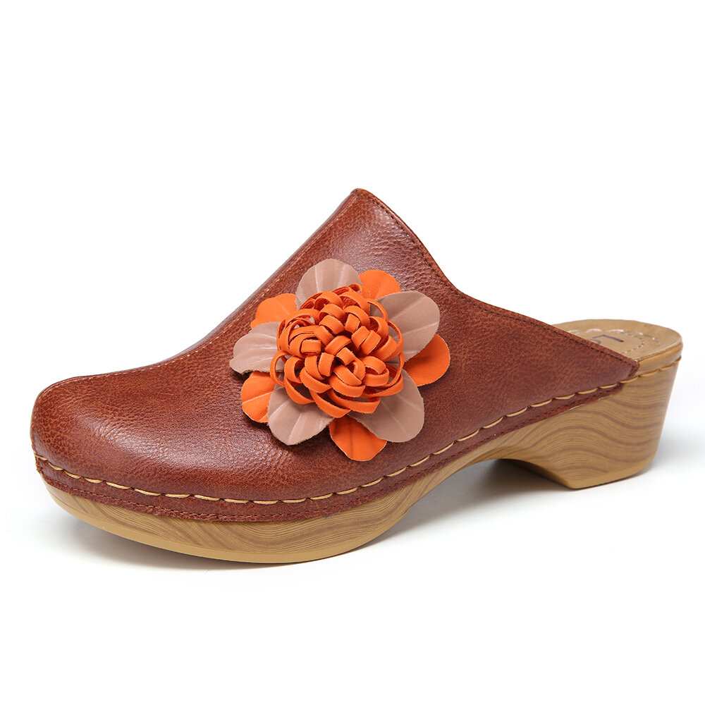 LOSTISY Flower Stitching Closed Toe Backless Wedges Clogs