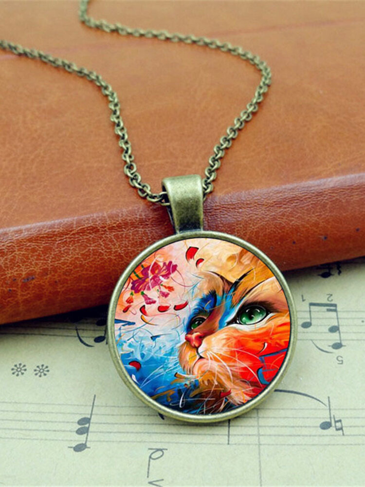 Vintage Glass Printed Women Necklace Colored Cat Flower Pendant Necklace Jewelry Gift