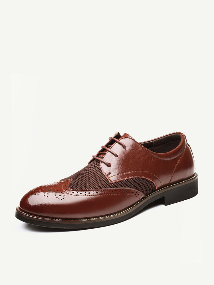 Large Size Men Brogue Carved Leather Splicing Formal Oxfords