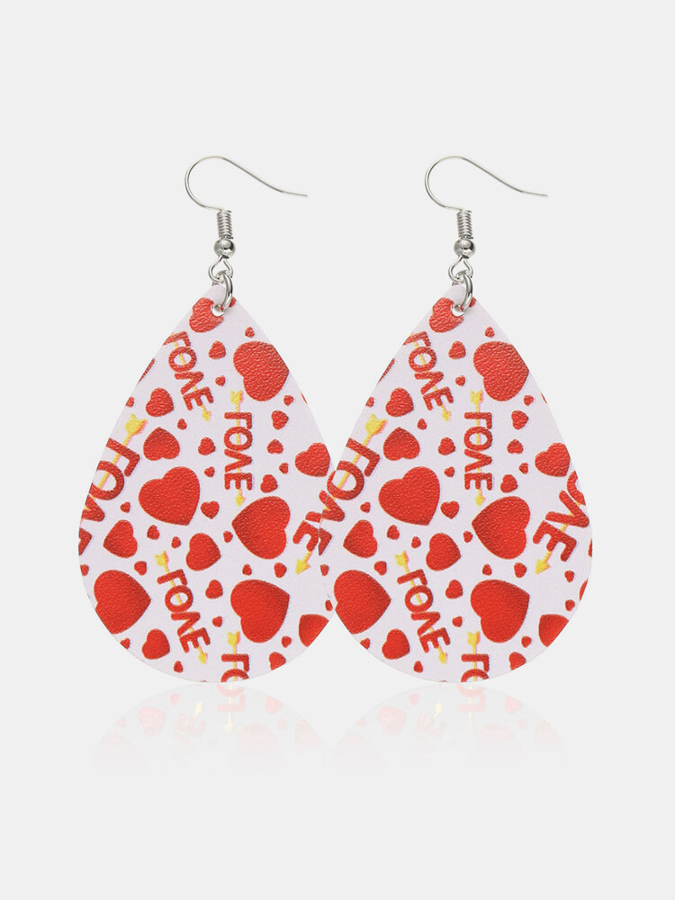 Vintage Drop-Shape Hollow Valentine's Day Heart PU Leather Earrings