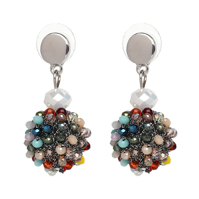 Unique Women's Colorful Bead Micro Pave Ball Drop Earrings Gift Party Jewelry for Women