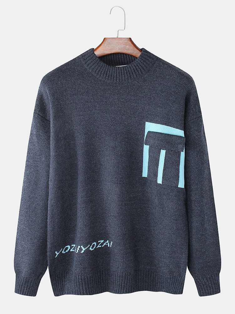 Mens Pocket Designer Stylish Crew Neck Casual Knitted Pullover Sweater