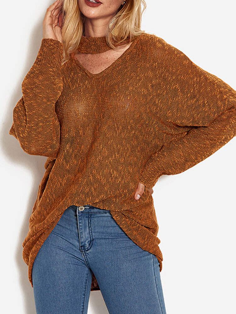 Solid Color Hollow Knitted Long Dolman Sleeve Casual Sweater for Women