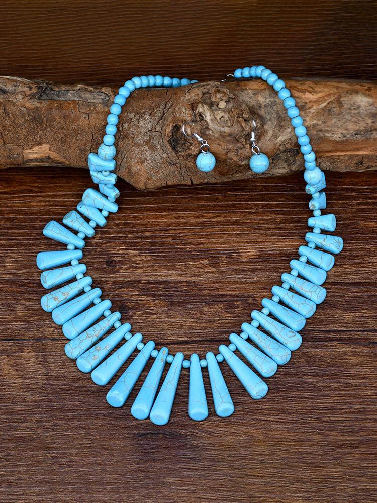 2 Pcs Bohemian Turquoise Women Jewelry Set Tassel Beaded Necklace Pendant Earrings